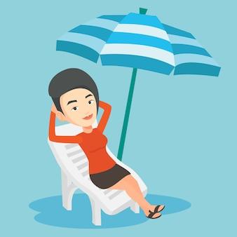 Mulher relaxante na ilustração de cadeira de praia.