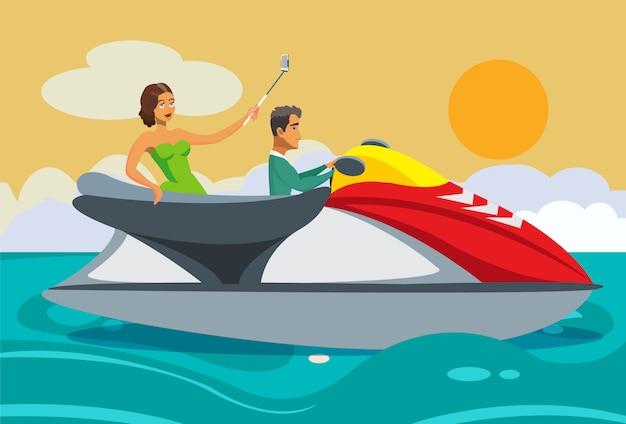 Mulher rica e homem andando de jet ski cartoon.