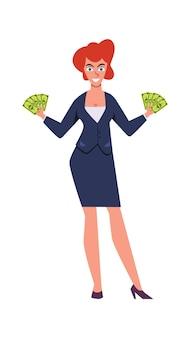 Mulher rica. personagem de sucesso com conceito de dinheiro e riqueza de terno caro de luxo
