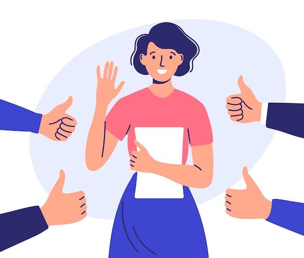 Mulher rodeada de mãos com polegares para cima e aplausos