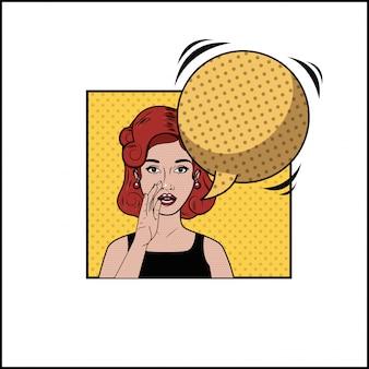 Mulher ruiva com estilo de pop art de bolha do discurso