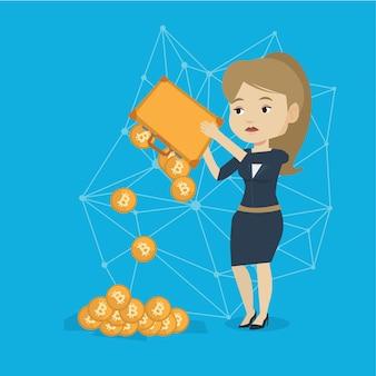Mulher sacudindo moedas bitcoin da maleta.