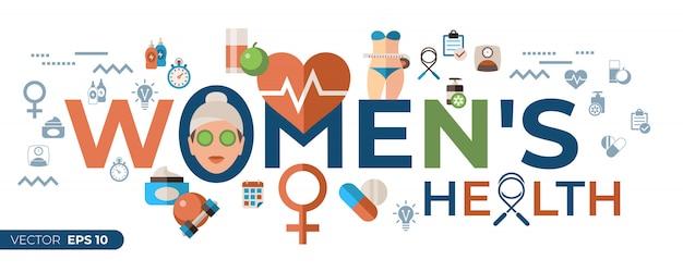 Mulher, saúde, ícones, cobrança