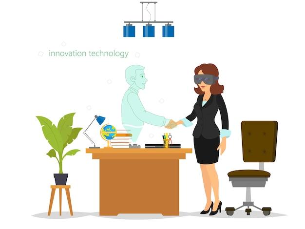 Mulher se comunica, trabalha e entra em transações comerciais em uma realidade virtual.