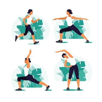 Mulher se exercitando no parque. esportes ao ar livre. estilo de vida saudável e conceito de aptidão. ilustração vetorial em estilo simples.