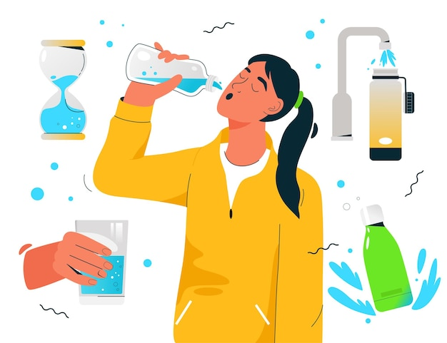 Mulher sedenta e desportiva a beber água limpa