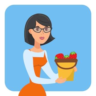 Mulher segura, balde, de, morangos, vetorial, cartaz