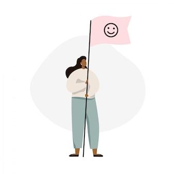 Mulher segura, bandeira, com, sinal sorriso