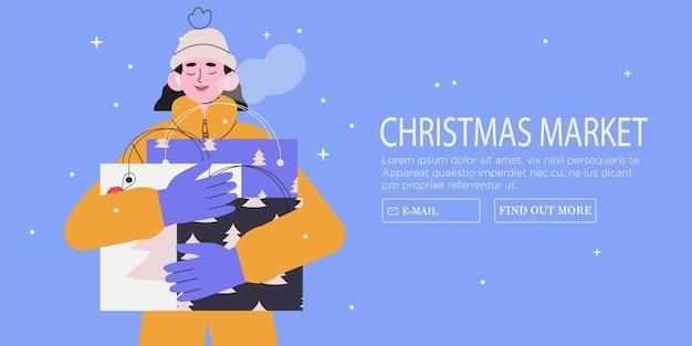 Mulher segura sacolas de compras com presentes liquidação de natal ou ano novo ou feira. compras online
