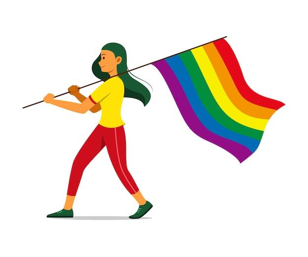 Mulher segurando a bandeira do arco-íris para o movimento lgbt.