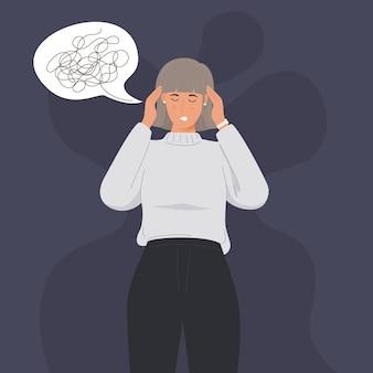 Mulher segurando a cabeça por causa de doença ou estresse