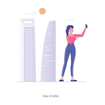 Mulher segurando a câmera do telefone e tirar um vetor de selfie