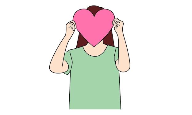 Mulher segurando a prancha com sinal de coração