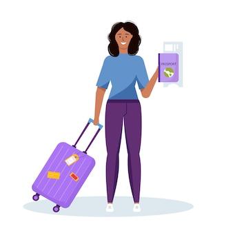 Mulher segurando bagagem para turismo de aventura, viagens. projeto decorativo de viagem com mala, bagagem para o viajante. vetor moderno plana dos desenhos animados.