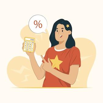 Mulher segurando calculadora com ilustração percentual