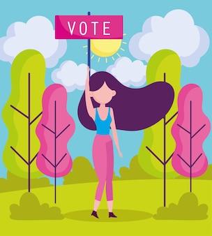 Mulher segurando cartaz de votação