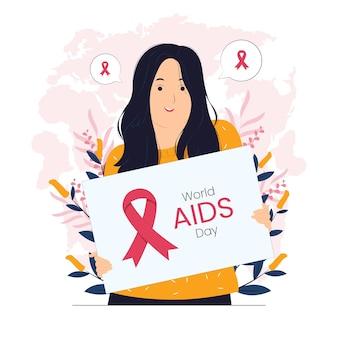 Mulher segurando cartaz na ilustração do conceito do dia mundial da aids