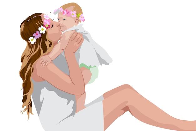 Mulher segurando e beijando seu filho. vestidos brancos e coroa floral