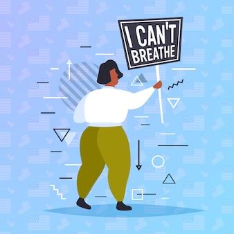 Mulher segurando eu não posso respirar bandeira vidas negras importam campanha contra discriminação racial