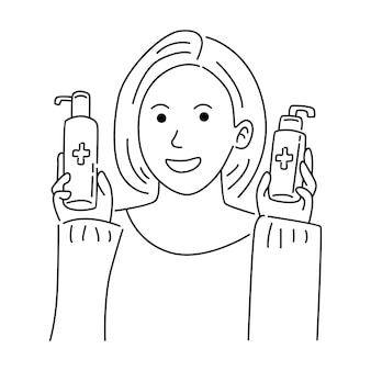 Mulher segurando gel para lavar as mãos Vetor Premium
