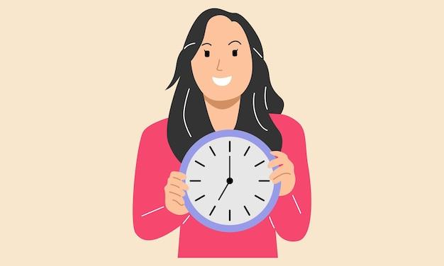 Mulher segurando o conceito de prazo de gerenciamento de tempo de relógio