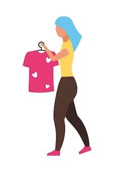 Mulher segurando o personagem de vetor de cor semi plana de cabide de camiseta. figura ambulante. pessoa de corpo inteiro em branco. consultor elegante isolou ilustração de estilo de desenho animado moderno para design gráfico e animação