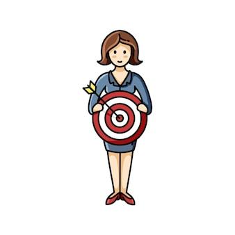 Mulher segurando o sinal de objetivo. realização de metas. elemento de infográfico. personagem de vetor
