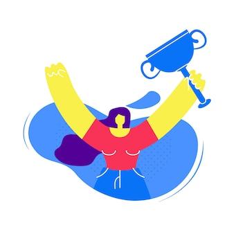 Mulher segurando o troféu de ouro vector plana personagem