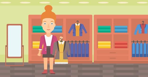 Mulher segurando o vestido com jaqueta.