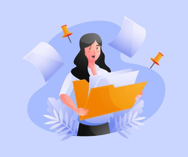 Mulher segurando pasta com documentos de administração de negócios e armazenamento de dados