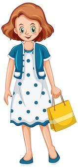 Mulher segurando sacola de compras em fundo branco