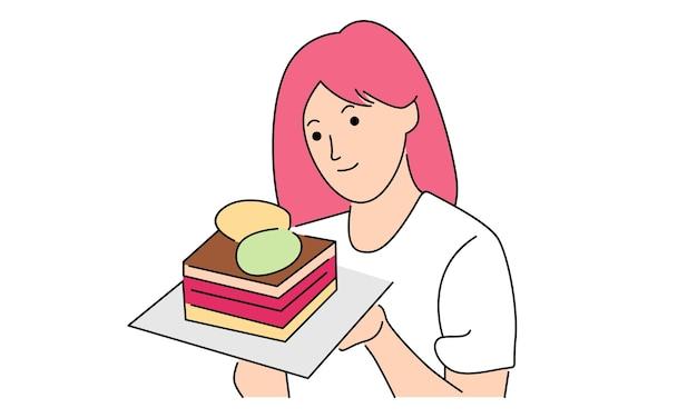 Mulher segurando um bolo de aniversário isolado no branco