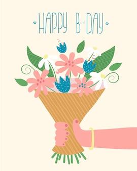 Mulher segurando um buquê de flores e letras românticas feliz aniversário. cartão inspirador de celebração.