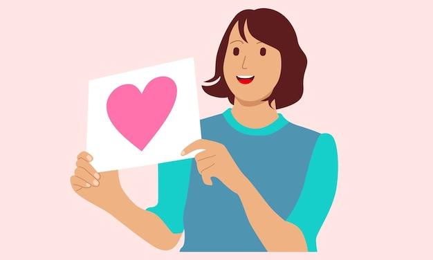 Mulher segurando um cartaz de amor no papel