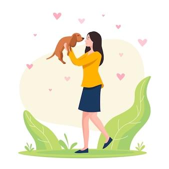 Mulher segurando um conceito de adoção de cachorro adorável
