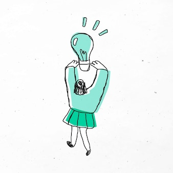 Mulher segurando um desenho de lâmpada