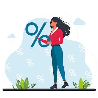 Mulher segurando um grande cartaz de porcentagem. uma garota está segurando um grande sinal de porcentagem. descontos em mercadorias, promoções. mantenha descontos. interesse financeiro. aumente, diminua o preço. ilustração vetorial.