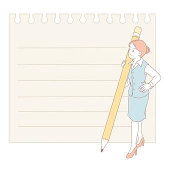 Mulher segurando um lápis e olhando para o papel no estilo de linha