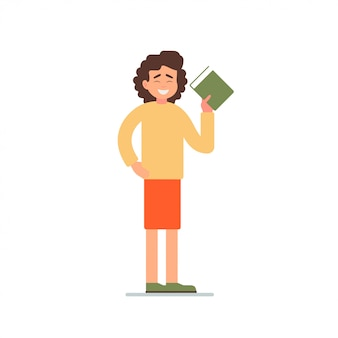Mulher segurando um livro e convida com um gesto