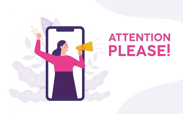 Mulher segurando um megafone e gritando atenção por favor