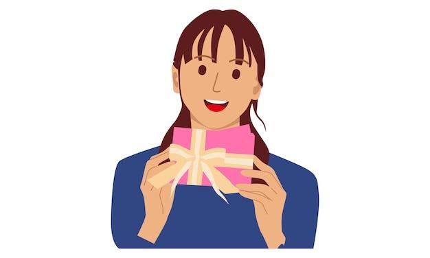Mulher segurando uma caixa de presente