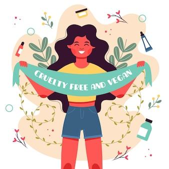 Mulher segurando uma fita com mensagem vegana e gratuita de crueldade