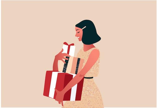 Mulher segurando uma pilha de presentes nas caixas celebração de ano novo ou natal ilustração colorida em estilo moderno simples
