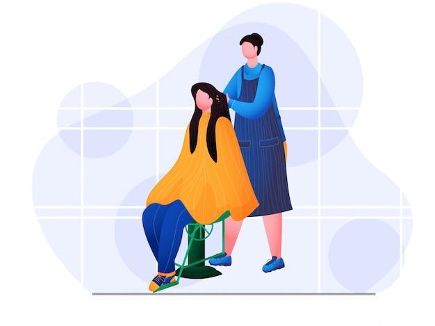 Mulher sem rosto fazendo massagem no cabelo de jovem em salão de beleza.