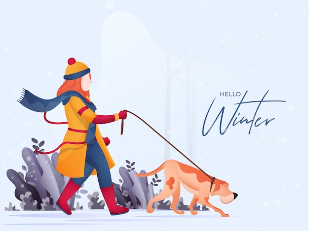 Mulher sem rosto, segurando a trela do cão em pé posar na natureza para olá inverno.