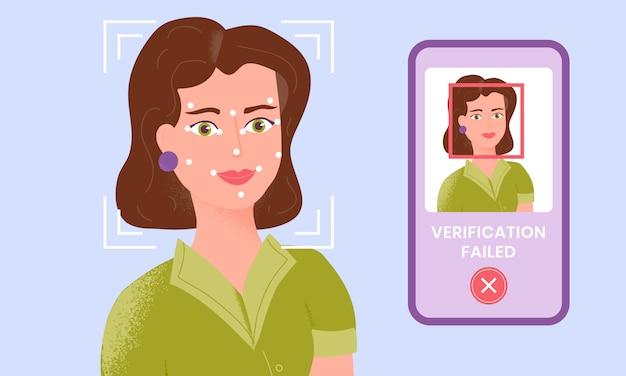 Mulher sendo verificada por meio da tecnologia de identificação facial do smartphone e a verificação falhou.