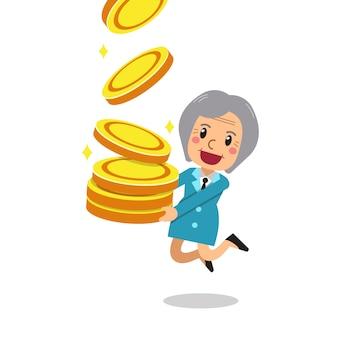 Mulher sênior dos desenhos animados com grande pilha de moedas