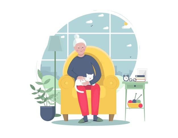Mulher sênior sentada na poltrona com o gato. fique em casa conceito. ilustração em vetor plana.