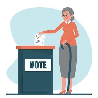 Mulher sênior votando para presidente