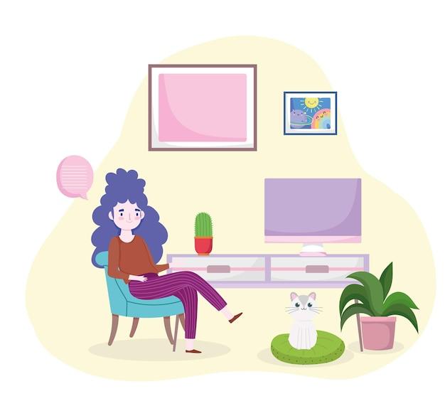 Mulher sentada com computador de mesa, ilustração de home office